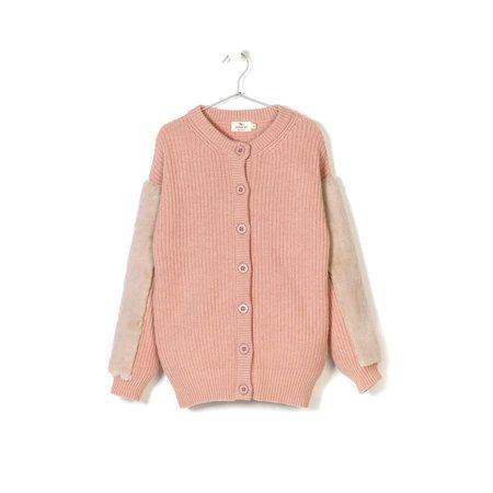 KIDS andorine faux fur trimmed knit cardigan - pink
