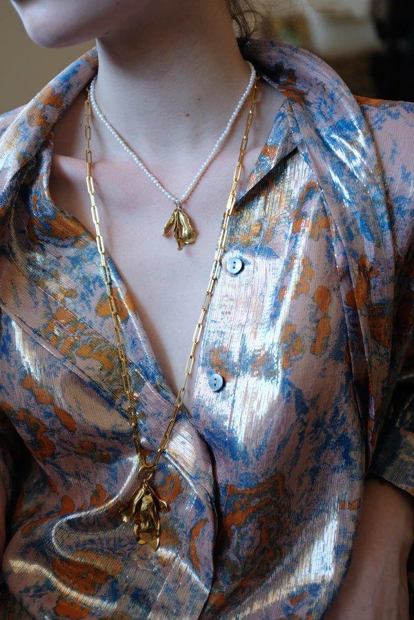 Leigh Miller Long Chrysanthemum Pendant Necklace - Gold