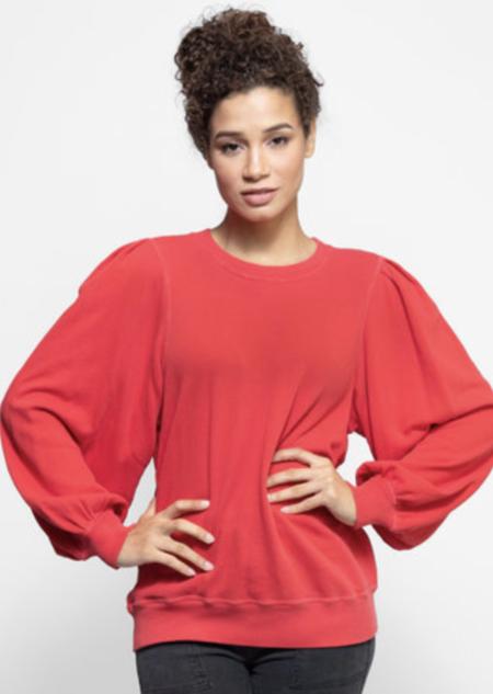 The Great. Pleat Sleeve Sweatshirt - Candy Apple