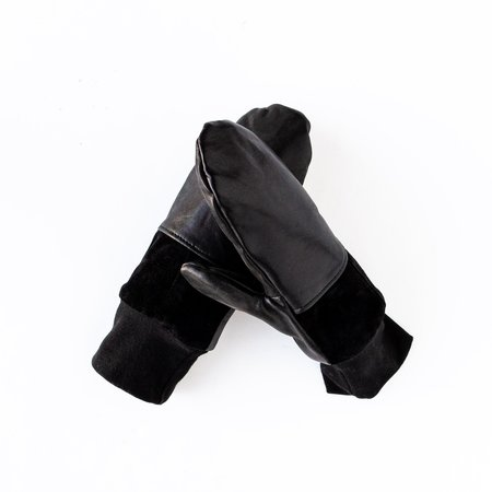 Kazak Lhasa Recycled Leather and Suede Mittens - Black