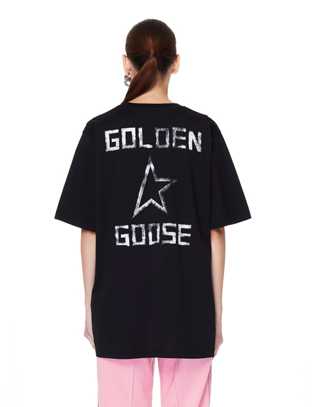 Golden Goose Star Printed Cotton Hoshi T-Shirt - black