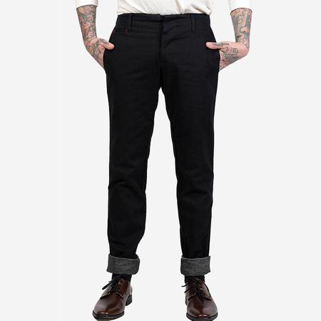 18 Waits The Slim Flannel Lined Trouser - Black Twill