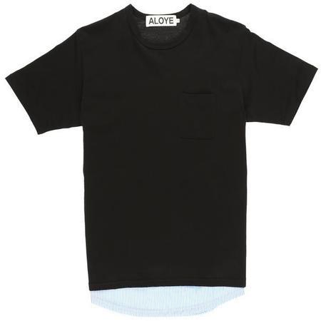 Aloye Fabric Layered T-Shirt - Black/Blue Stripe