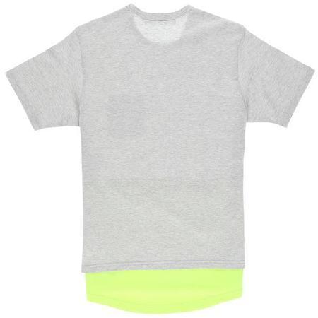 Aloye Fabric Layered T-Shirt - Heather Gray/Yellow