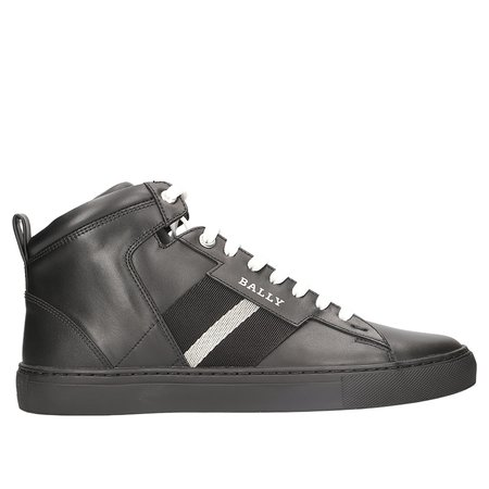 BALLY Hedern Leather High Top Sneaker - BLACK