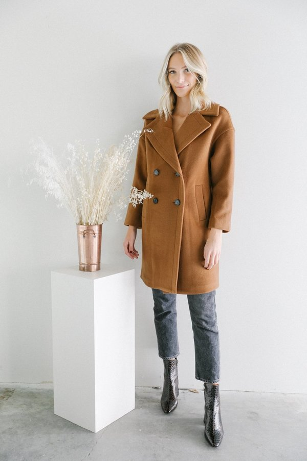 newest style of men/man fashion design Line the Label oversized peacoat - chestnut on Garmentory