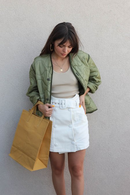 J.O.A. Corduroy Belted Skirt - White