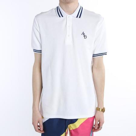 Aimé Leon Dore Monogram Stripe Collar Polo - White