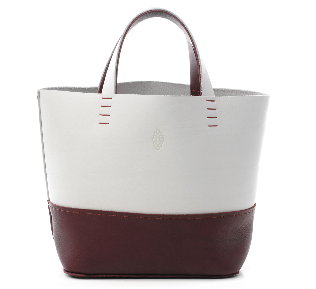 Ice white and eggplant petit basket bag duo by petite maison christiane gar - Petite maison christiane ...