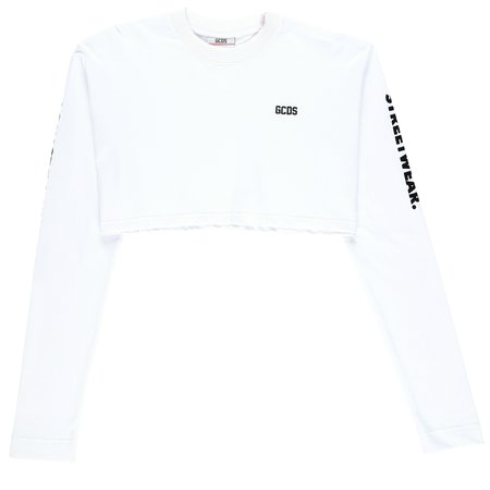 GCDS Long Sleeve Cropped T-Shirt