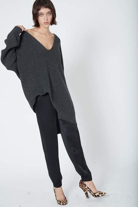 Isabel Benenato Asymmetric V Neck Camel Wool Knit - Graphite