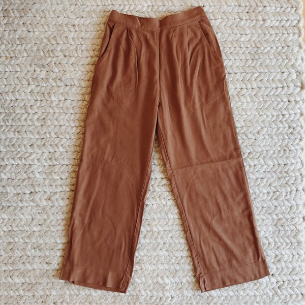 bottom price outlet store 60% discount Me & Arrow Pleated Linen Pants - Brown on Garmentory