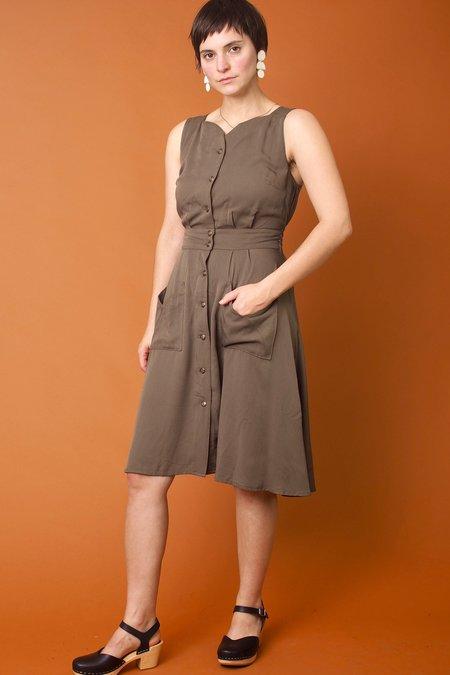 Field Day Sheet Dress - Olive