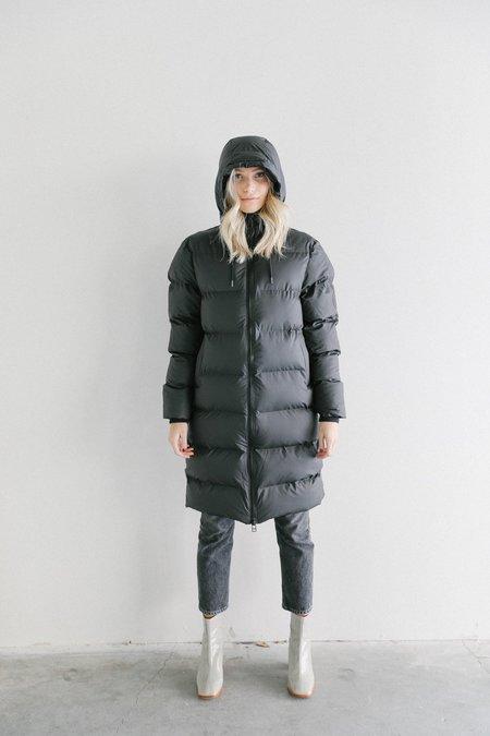 Rains Long Puffer Jacket - Black