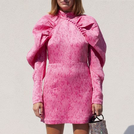 Rotate by Birger Christensen Jacquard Mini Dress - Pink Carnation