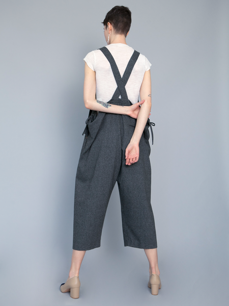 Lera Pivovarova Wool Frida Overalls - Dark Gray