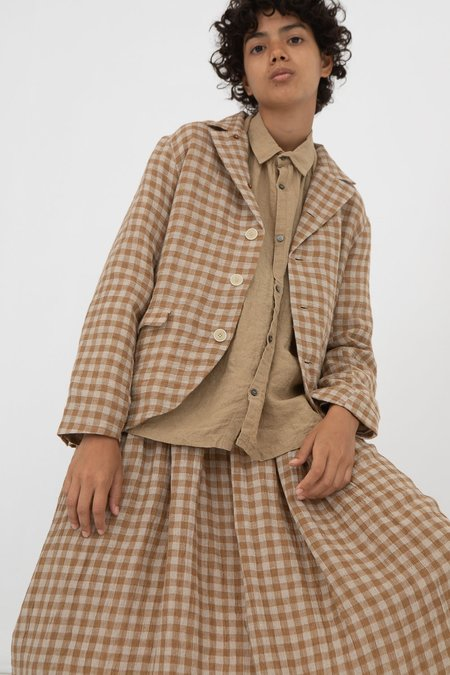 ICHI ANTIQUITES Linen Jacket - Beige Gingham