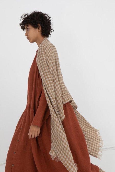 ICHI ANTIQUITES linen Stole scarf - Beige Gingham