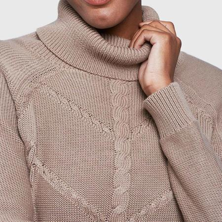 United By Blue Hideaway Cableknit Turtleneck - Stone