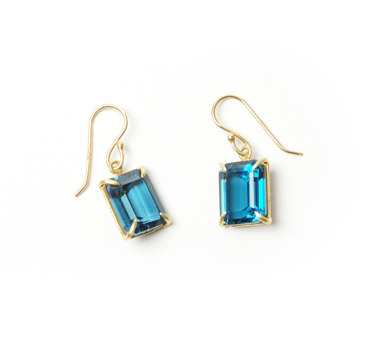 Rosanne Pugliese 18K Emerald Cut Faceted London Blue Topaz Earrings