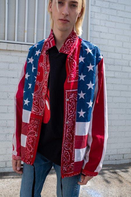 Old Park Reversible Bandana & American Flag Coach Jacket - Red