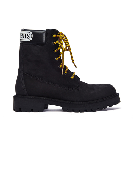 Vetements Nubuck Trucker Logo Boots - Black