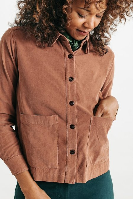 Bridge & Burn Kettering Corduroy Button-Up Shirt - Rust