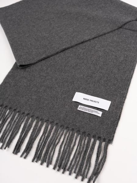 Unisex Norse Projects Lambswool Scarf - Charcoal Melange