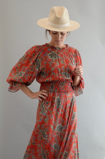 Icons Reconstructed Long Peasant Dress - Red Paisley