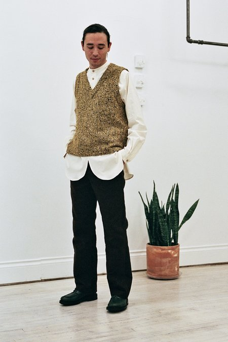 Frank Leder Wool Vest -  Yellow
