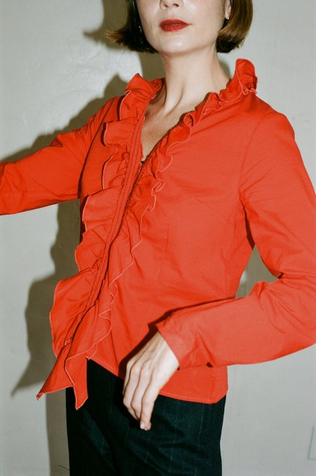 Our Legacy Ruffle Top - Flamenco Red