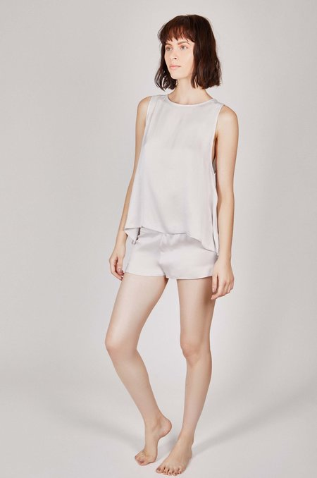 KENT Zip Organic Silk Sleep Shirt - Cloud Grey