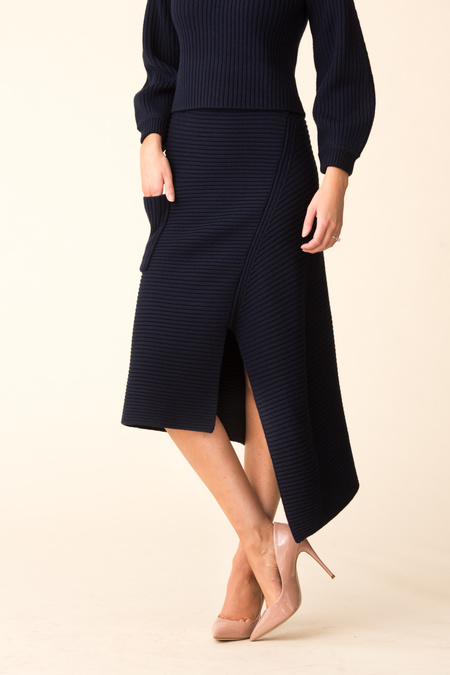 Tibi Merino Rib Sweater Origami Slit Skirt - NAVY