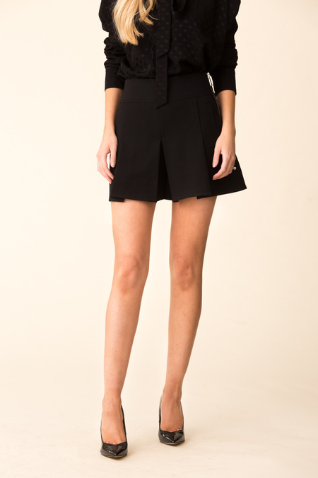 Tibi Anson Stretch Pleated Skort - Black