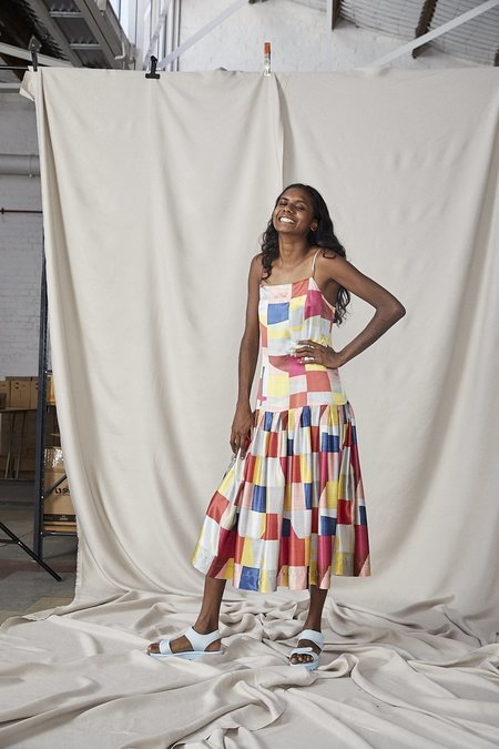 Lois Hazel Fold Drop Dress - Colourblock
