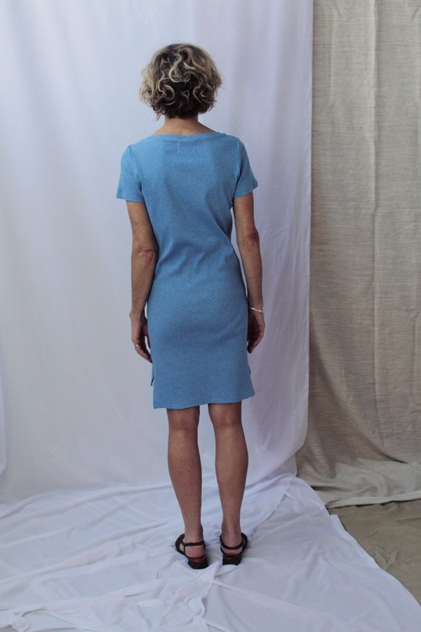 Lois Hazel Smooth Rib Tee Dress - Blue