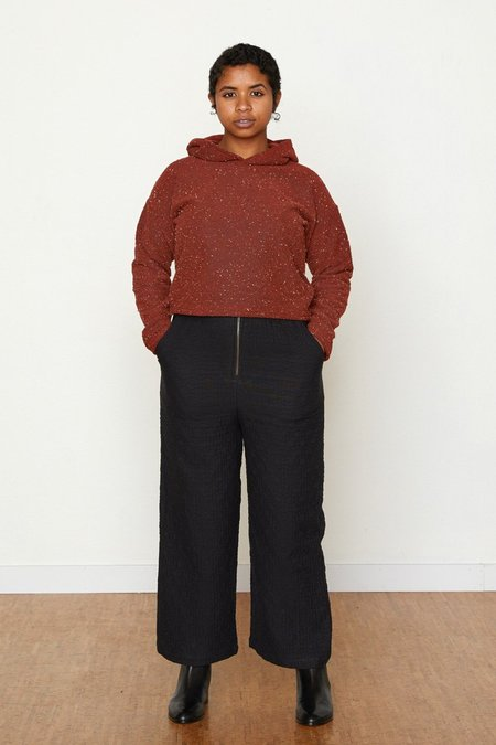 North Of West Pebble Knit Janet Cropped Hoodie - Ruby