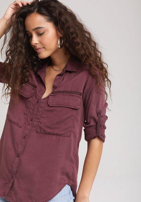 Bella Dahl Patch Pocket Utility Shirt - merlot