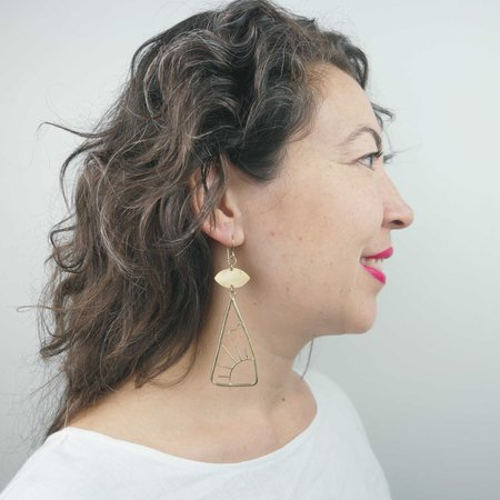 Fade into the Abstract East & West Earrings - Brass