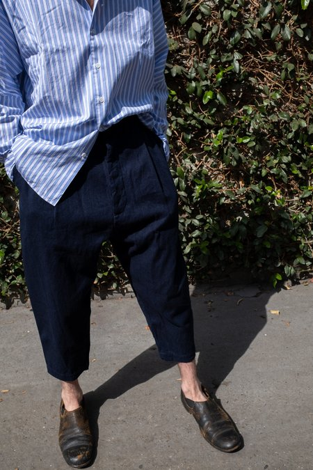 Casey Casey Wool Linen Basic Pleated Court Pant - Navy