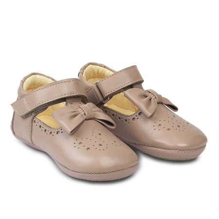 Kids angulus indoor shoe with bow & velcro - dusty rose