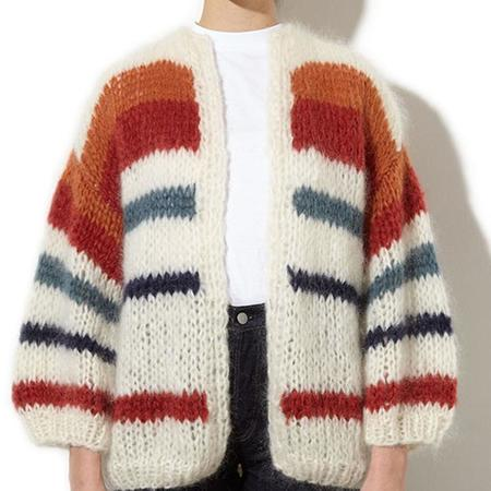 Maiami mohair striped cardigan - creme/copper