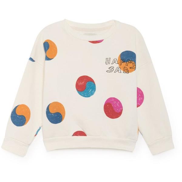 KIDS bobo choses yin yang round neck sweatshirt - off white/multicolor
