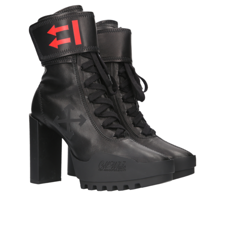 Off-White Heeled Moto Wrap Bootie - Black