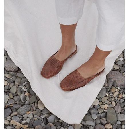 St. Agni agnese woven flat - antique tan