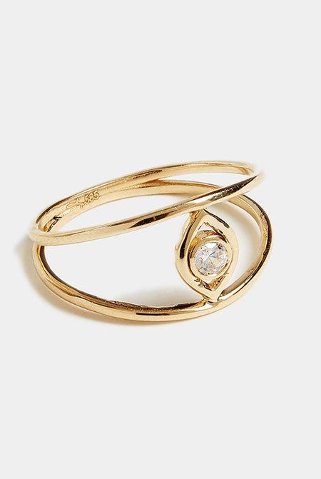 Grace Chou Evil Eye Ring - 14K Gold