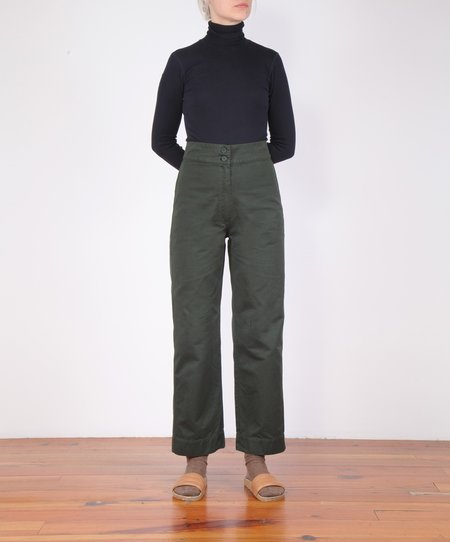 Ali Golden Cotton Fly Front Pant - Hunter