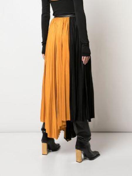 PROENZA SCHOULER Asymmetrical Pleated Skirt - Black/Light Saffron