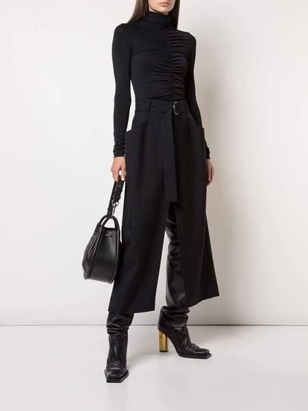 PROENZA SCHOULER Split Skirt-Wool Twill Suiting - black