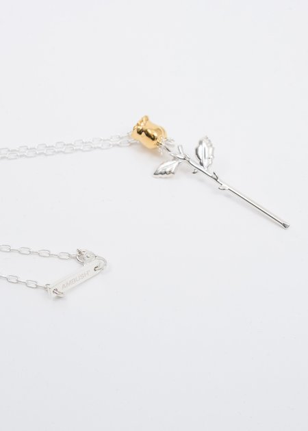 Ambush Rose Charm Necklace - Silver